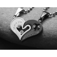 Double Heart Steel Necklace