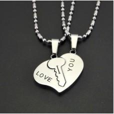 Double Heart Steel Necklace