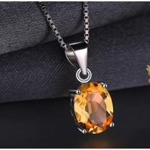 Natural Citrine Silver choker Women Celebration Gift Necklace