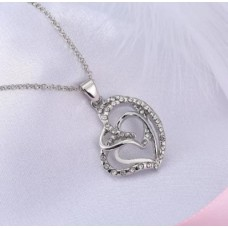Silver Heart Necklace with Love Heart
