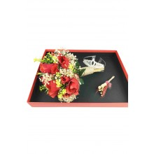 Preparing Custom Wedding Hand Bouquet for You, Groom Boutonniere and Bridal Crown Set in Custom Box