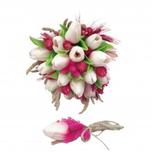 Wedding Hand Bouquet and Groom Boutonniere Handmade Artificial Wet Tulip natural looking and pink color natural dry flowers