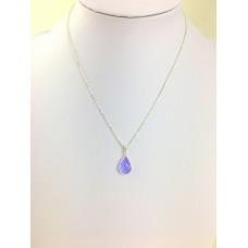 Stone Quartz Necklace Light Blue