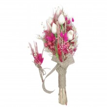 Wedding Hand Bouquet and Groom Boutonniere Handmade Artificial Wet Tulip natural looking and fuchsia color natural dry flowers