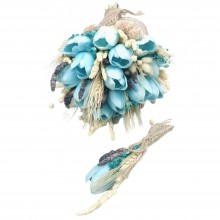 Wedding Hand Bouquet and Groom Boutonniere Handmade Artificial Wet Tulip natural looking and blue color natural dry flowers