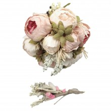Wedding Hand Bouquet and Groom Boutonniere Handmade Nature White Collected Pink Peony Flowers