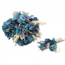 Wedding Hand Bouquet and Groom Boutonniere Handmade Artificial Blue Hydrangea Other Dried Flowers Collected From Nature