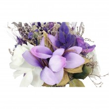 Wedding Hand Bouquet and Groom Boutonniere Handmade Nature White Collected Purple color Peony Flowers