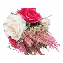 Wedding Hand Bouquet and Groom Boutonniere Handmade Artificial Dried Roses and Chips Prepared Celebration