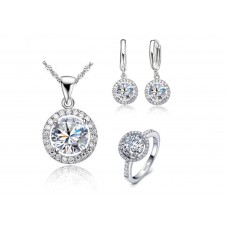 silver jewelry silver flower pendant necklace earring + ring cubic zircon set