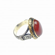 925 Sterling 14 Gram Silver Agate Stone, Handcrafted Processing Gift Ring
