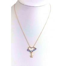Planet Heart Star Zircon 925 Sterling Silver Women's Elegant Necklace (Birthday-Valentine-Graduation-Mothers Day) Gift